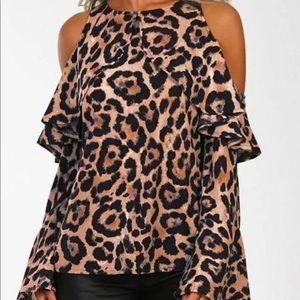 Leopard Cold Shoulder Ruffles Blouse